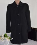Брендовое черное шерстяное пальто с карманами canda c&a new wool