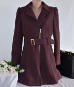Брендовое бордовое демисезонное пальто на молнии с поясом и карманами new look вьетнам