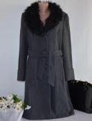 Брендовое серое шерстяное демисезонное пальто с меховым воротником и поясом вьетнам