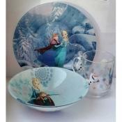 """Подарочный набор детской посуды с героями мультфильма """"Холодное сердце"""" из 3-х предметов"""