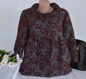 Брендовый легкий пиджак жакет полупальто с карманами betty jackson вискоза вышивка цветы