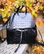 Большой, вместительный, кожаный рюкзак от Most Wanted ( Португалия ), цвет - черный
