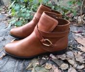 Женские ботинки Ralph Lauren, оригинал, новые, низкий ход, кожаные, цвет - светло / коричневый.