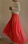 Струящаяся ассиметричная юбка ZARA яркий коралл