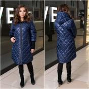 Пальто сине жіноче плащівка Мод 240