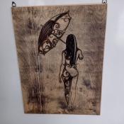 """Декоративное панно """"Девушка с зонтом"""""""